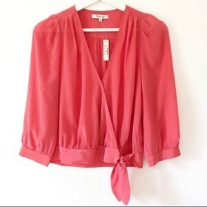 Madewell Silk Wrap Top XS Coral